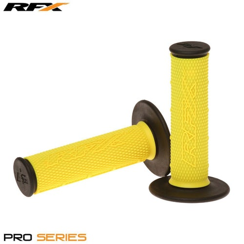 RFX Pro Series 20200 Dual Compound Grips Black Ends Pair MX Handlebar Grip - Yellow Black