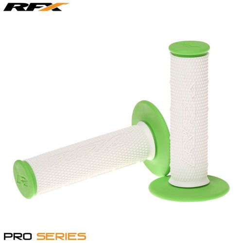 RFX Pro Series 20300 Dual Compound Grips White Centre Pair MX Handlebar Grip - White Green