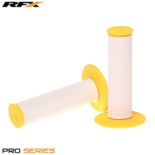 RFX Pro Series 20300 Dual Compound Grips White Centre Pair MX Handlebar Grip - White Yellow