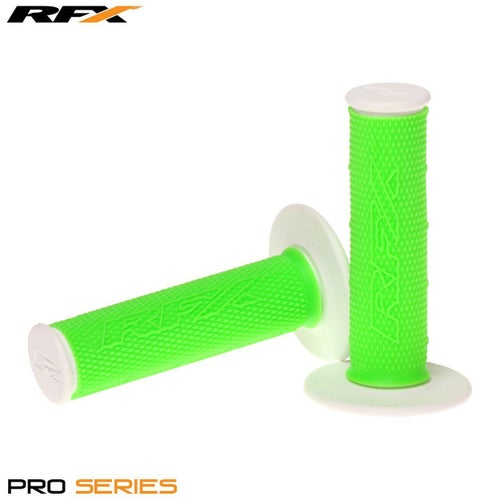 RFX Pro Series 20400 Dual Compound Grips White Ends Pair MX Handlebar Grip - Green White