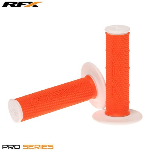 RFX Pro Series 20400 Dual Compound Grips White Ends Pair MX Handlebar Grip - Orange White