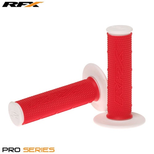 RFX Pro Series 20400 Dual Compound Grips White Ends Pair MX Handlebar Grip - Red White