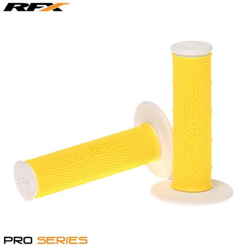 RFX Pro Series 20400 Dual Compound Grips White Ends Pair MX Handlebar Grip - Yellow White