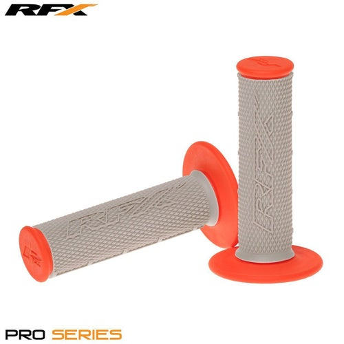 RFX Pro Series 20500 Dual Compound Grips Grey Centre Pair MX Handlebar Grip - Grey Orange