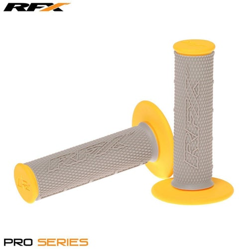 RFX Pro Series 20500 Dual Compound Grips Grey Centre Pair MX Handlebar Grip - Grey Yellow