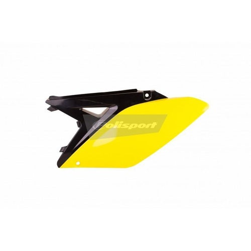 Polisport Plastics Side Panel Suzuki RMZ250 1015 Black Yellow 01 OEM 14 Side Panel Plastic - Black