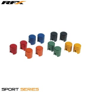 RFX Sport Valve Caps Piston 2pcs Wheel Accessories - Black