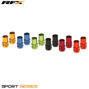 RFX Sport Series Valve Caps with Valve Key 2pcs Wheel Accessories - Blue
