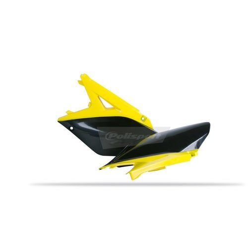Polisport Plastics Side Panel Suzuki RMZ250 1015 Yellow 01 Black OEM 10 Side Panel Plastic - 12) Yellow Black