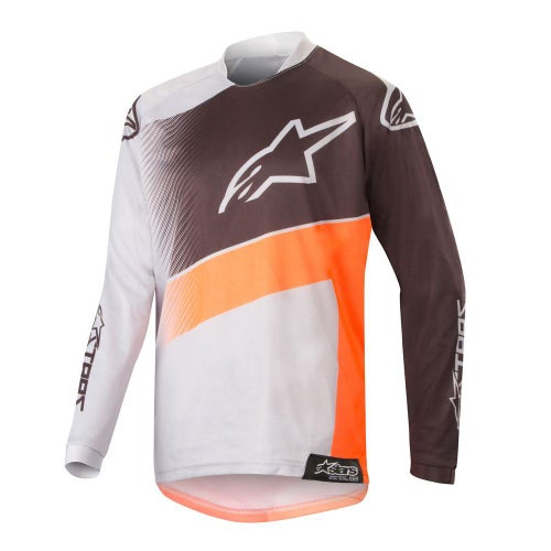 Alpinestars Youth Racer Supermatic Motocross Jerseys - Light Gray Orange Fluo Black