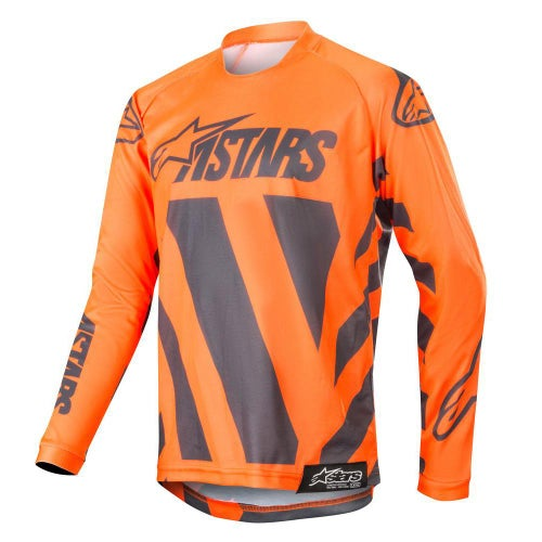 Alpinestars Youth Racer Braap Motocross Jerseys - Anthracite Orange Fluo