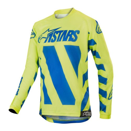 Alpinestars Youth Racer Braap Motocross Jerseys - Blue Yellow Fluo