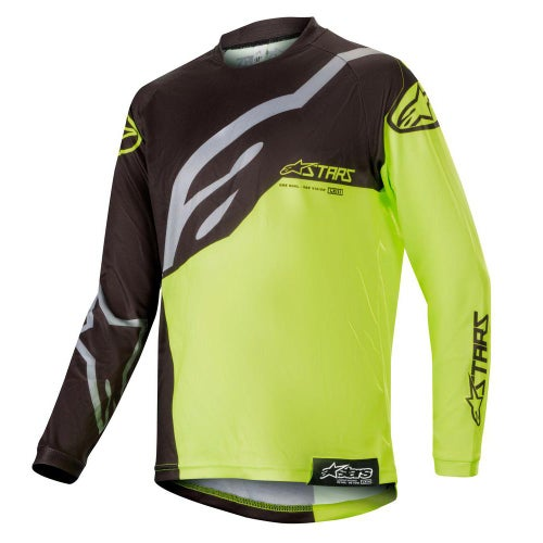 Alpinestars Youth Racer Factory Motocross Jerseys - Black Yellow Fluo