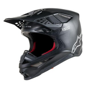 Alpinestars Supertech S-m10 Solid Motocross Helmet - Black Matt Carbon