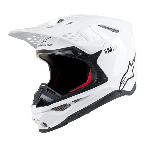 Alpinestars Supertech S-m10 Solid MX Helm - White Glossy