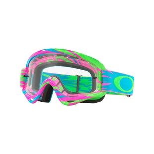 Oakley XS O FramePInk Green Blue Motocross Goggles - Pink Green Blue ~ Clear Lens