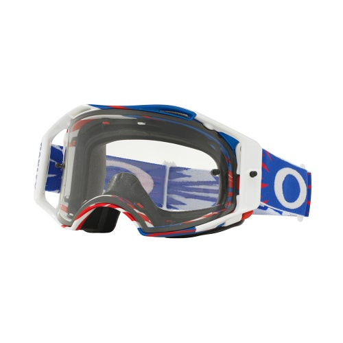 Oakley Airbrake High Voltage Motocross Goggles - Blue White ~ Clear Lens
