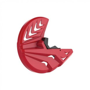 Polisport Plastics Front Disc and Bottom Fork Protector Honda CRF250R 450R 1518 Brake Disc Guard - Red