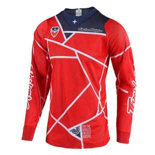 Troy Lee SE AIR 181 Metric MX Motocross Jersey Motocross Jerseys - Red / Navy