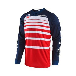 Troy Lee SE Streamline Motocross Jersey Motocross Jerseys - Red / Navy