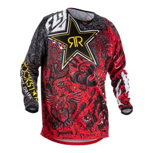 Fly Kinetic Rockstar MX Motocross Jerseys - Black / White / Red