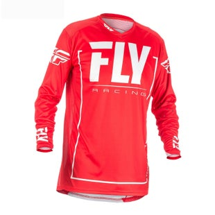 Fly Lite Hydrogen MX Motocross Jerseys - Red / Grey