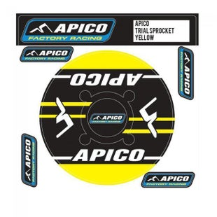 Apico Trials Rear Sprocket Sticker 46T Decal Sheet - 48T Yellow