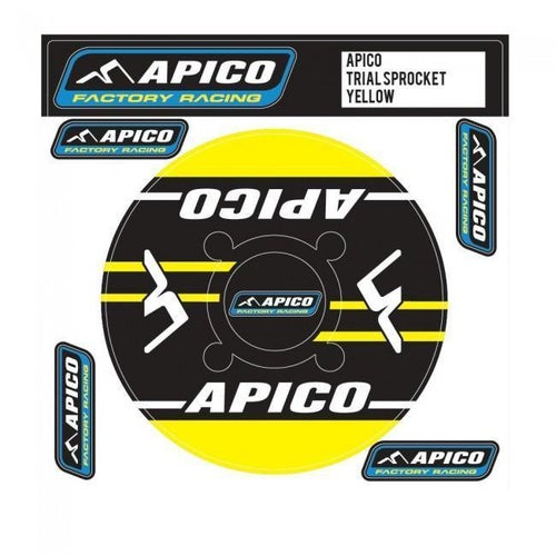 Apico Trials Rear Sprocket Sticker 43T Decal Sheet - 44T Yellow