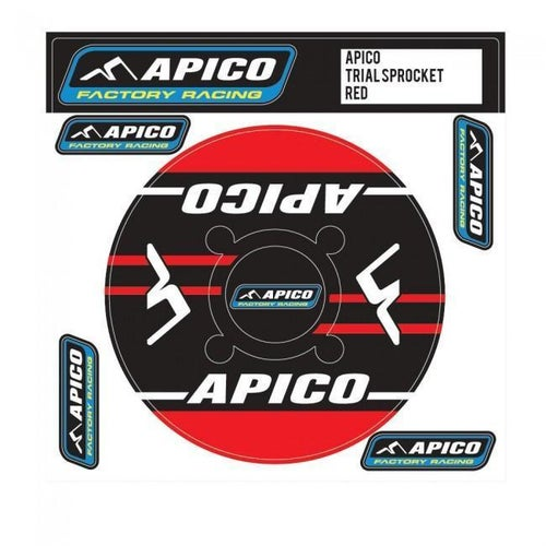 Apico Trials Rear Sprocket Sticker 43T Decal Sheet - 44T Red