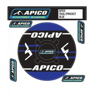 Apico Trials Rear Sprocket Sticker 43T Decal Sheet - 44T Blue
