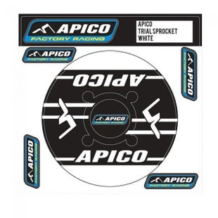Apico Trials Rear Sprocket Sticker 43T Decal Sheet - 44T Black