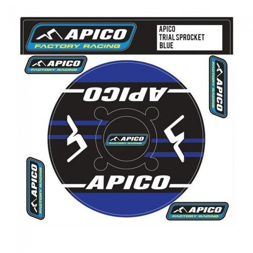 Apico Trials Rear Sprocket Sticker 41T Decal Sheet - 42T Blue