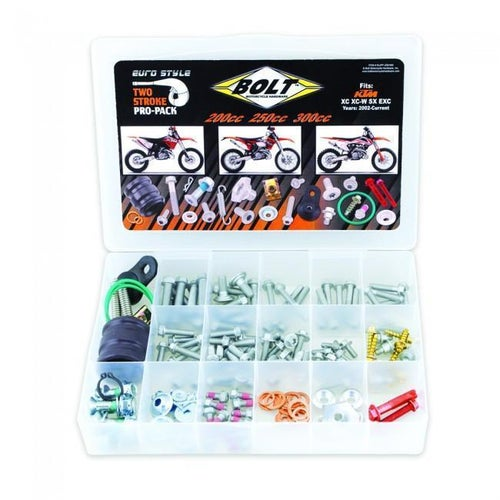 Bolt Hardware Euro Style 2T Pro Pack Fastener Kit SX EXC 200300 00 Bike Specific Bolt Pack - grey