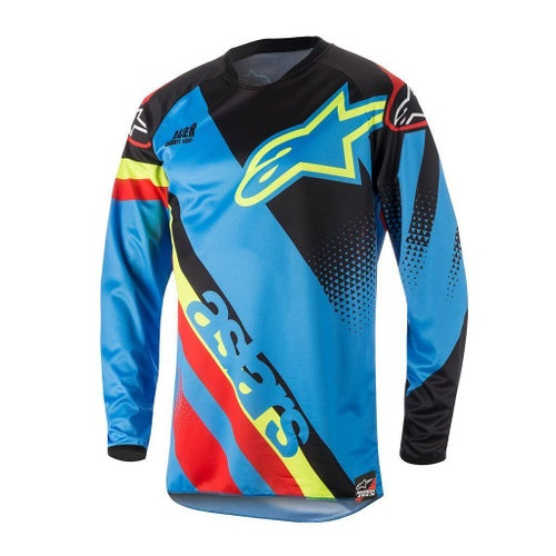 Alpinestars Racer Supermatic MX Motocross Jerseys - Aqua, Black and Red
