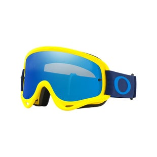 Oakley O FrameFlo Yellow Navy Motocross Goggles - Flo Yellow Navy ~ Black Ice Iridium and Clear Lens