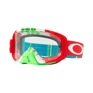 Oakley O Frame 20 Pinned Race Red Green Motocross Goggles - Red ~ Clear Lens