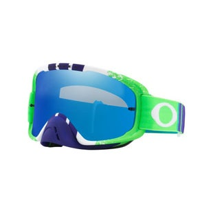 Oakley O Frame 20 Pinned Race Green Blue Motocross Goggles - Green Blue ~ Black Ice Iridium and Clear Lens