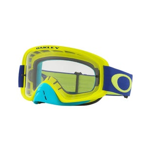 Oakley O Frame 20 Flo Lime Blue Motocross Goggles - Lime Blue ~ Clear Lens