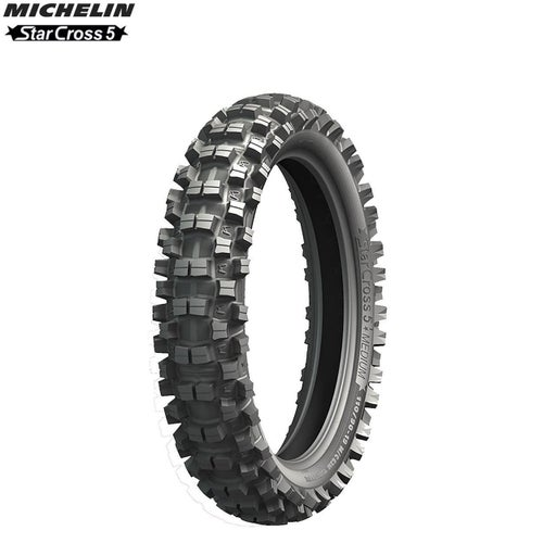 Michelin Offroad Rear Tyre Starcross 5 MX Med Terr Size 110 90 , Motocross Tyre - Black