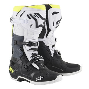 Botas MX Alpinestars Tech 10 - Black White Yellow Fluo