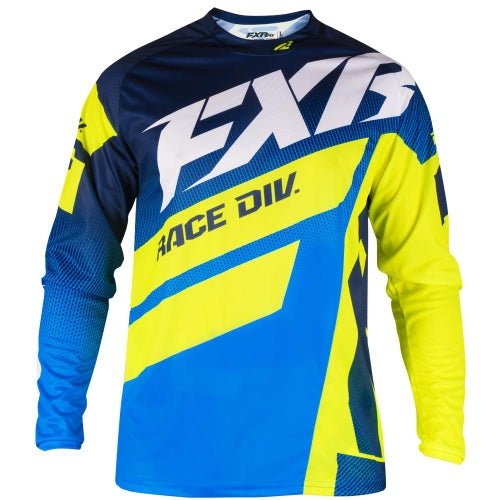 FXR Clutch Podium Motocross Jerseys - Navy/blue Fade/hivis