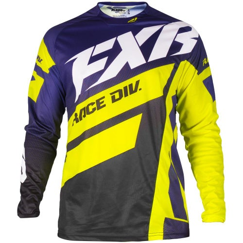 FXR Clutch Podium Motocross Jerseys - Purple/black Fade/hivis