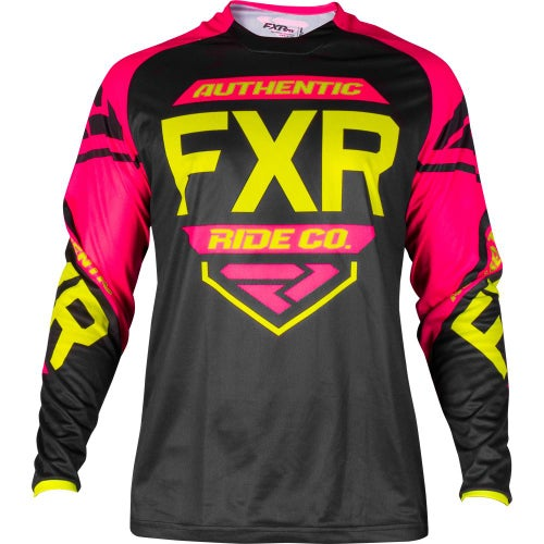 FXR Clutch Retro Motocross Jerseys - Black/fuchsia/hivis