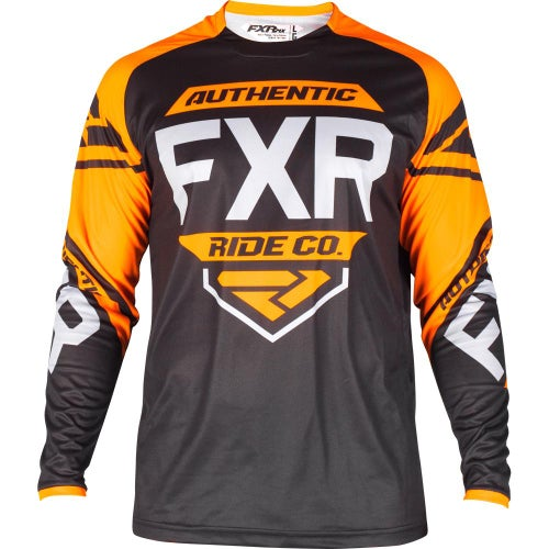 FXR Clutch Retro Motocross Jerseys - Black/orange/lt Grey