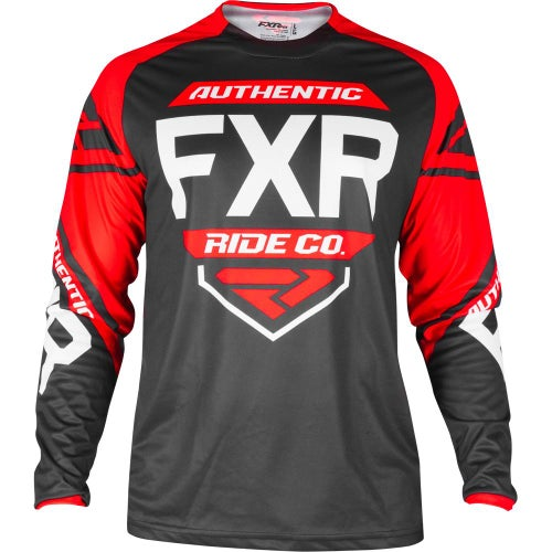 FXR Clutch Retro Motocross Jerseys - Black/red/white