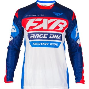 FXR Revo Motocross Jerseys - White/navy/red/blue