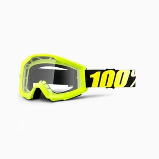 100 Percent Strata YOUTH Motocross Goggles - Neon Yellow ~ Clear Lens