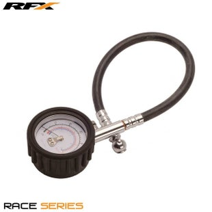 RFX (nla) Rfx Race Tyre Guage (0-30 Psi) Dial Type Guage With Short Pressure Gauge - Silver