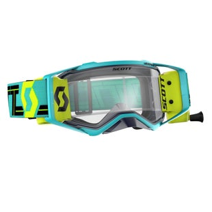 Scott Sports Prospect Motocross Goggles Works RollOff System Motocross Goggles - Teal Flou Yellow