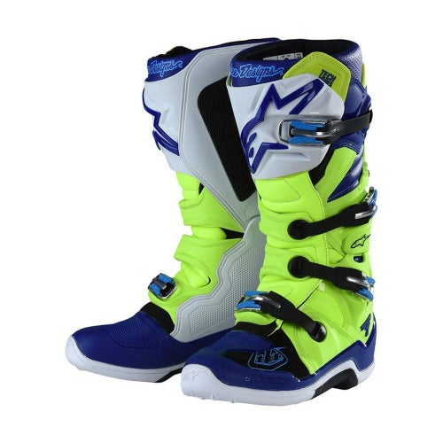 Alpinestars Troy Lee Designs Tech 7 Motocross Boots - Yellow Flo Blue White